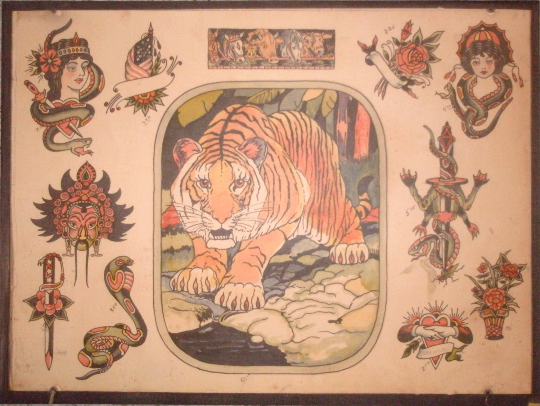 "Vintage Tattoo Flash- ""Tiger"" by Milton Zeis"